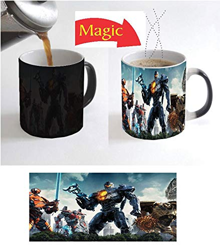 PACIFIC HORROR SCIENCE FICTION MONSTER FILM Image on CERAMIC BLACK Coffee Magic Mug - SET OF 2 MUGS - Heat Sensitive Color Changing Christmas XMAS Halloween Kids Gift -