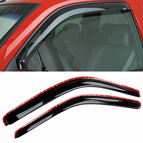 TONYTIM 2PCS in Channel Sun/Rain Guard Vent Shade Window Visors Fit 1994-2001 Dodge Ram 1500 1994-2002 Dodge Ram 2500/3500 Pickup Standard Cab/Quad Cab Wind Deflectors ()