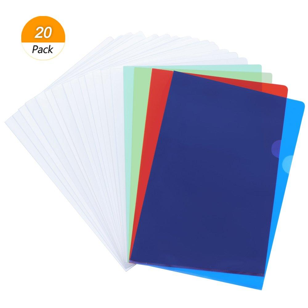 Meetory 20cartelle confezione trasparente tipo L in plastica al progetto tasche cartellina copia display organizer per formato A4, 5colori