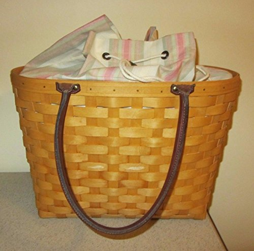 Longaberger 2001 Large Boardwalk Basket Combo with Canaba Stripe Fabric Liner and Clear Plastic Protector
