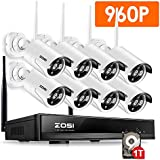 ZOSI 8 Channel 960p AUTO-PAIR WIRELESS SYSTEM 8CH 960P NVR with 8x 1.3P 960P HD Wireless Security IP Camera System (Auto-Pair, Built-in Router, 1.3MP Camera, 1TB Hard Drive)