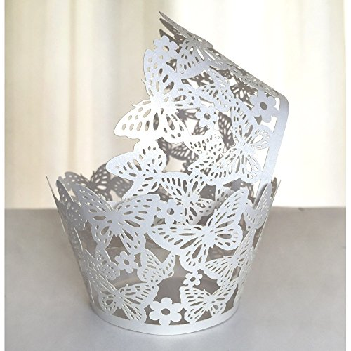 WOMHOPE® 50 Pcs - Butterfly Cupcake Wrapper Liner - Cupcake Wrappers Muffin Cup Wrapper Packaging Shimmering Laser Cut Lace for Wedding,Party,Baby Shower,Children Birthday (White)