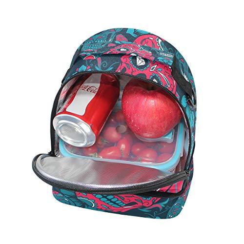 de Tête du Boîte l'école réglable Sac Jour pour mort à avec isotherme Pincnic bandoulière à Folpply sucre Tote Cooler lunch FqtYIS5wq