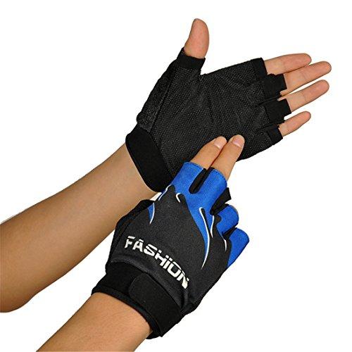 HANYI Outdoor Sports Bicycle Cycling Biking Hiking Gel Half Finger Fingerless Gloves (Blue)