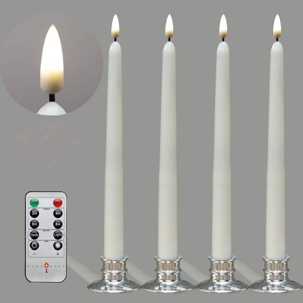 4 velas LED de 28 cm con nueva tecnolog/ía de llama parpadeante vela de marfil parpadeante hecha de cera real con control remoto y funci/ón de temporizador con 4 candelabros plateados