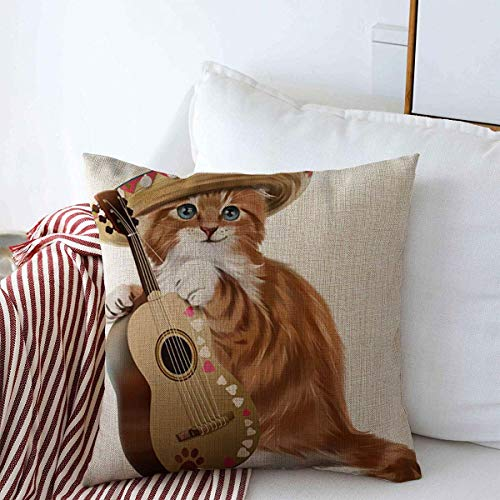 Pillow Case Happy Brown America Ginger Kitten Playing Guitar Young Watercolor Painting Funny Amigo Breed Cactus Home Decor Throw Pillows Covers 18