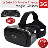 Motoraux 3D VR Glasses Virtual Reality Headsets Suitable for Google, Samsung Note, LG, Huawei, HTC, Moto Screen Smartphone (4.5-5.5 Iches)