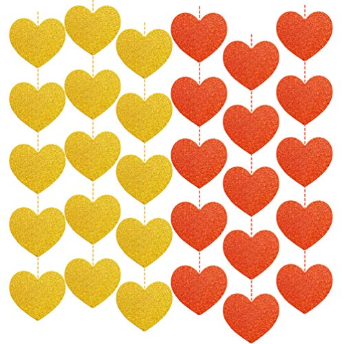 Valentines day Decorations Gold Red Heart Shaped Streamers Garland Banners Set of 2
