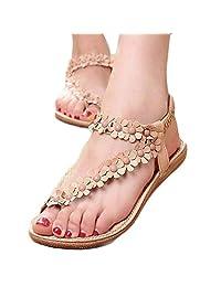 Sandals Beach Shoes,FTXJ Women's Sweet Summer Bohemia Sweet Beaded Sandals Clip Toe Herringbone Shoes