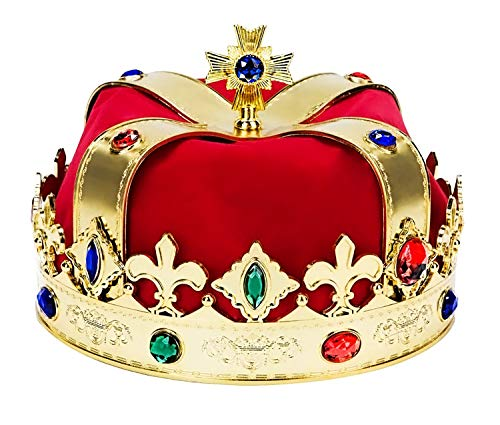 King Gold Crowns Costume - Perfect for Royal Kingdom Party Theme and Decorations - Feel Like a Prince - Jeweled Gold, Red, Blue - One Size Costume Accessories