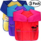 KUCEY 3 Pack Kids Art Smock, Waterproof Art Painting Apron 3 Large Pockets Long Sleeves Children Age 2-6 Painting, Baking, Feeding (Paints Brushes are not Included)