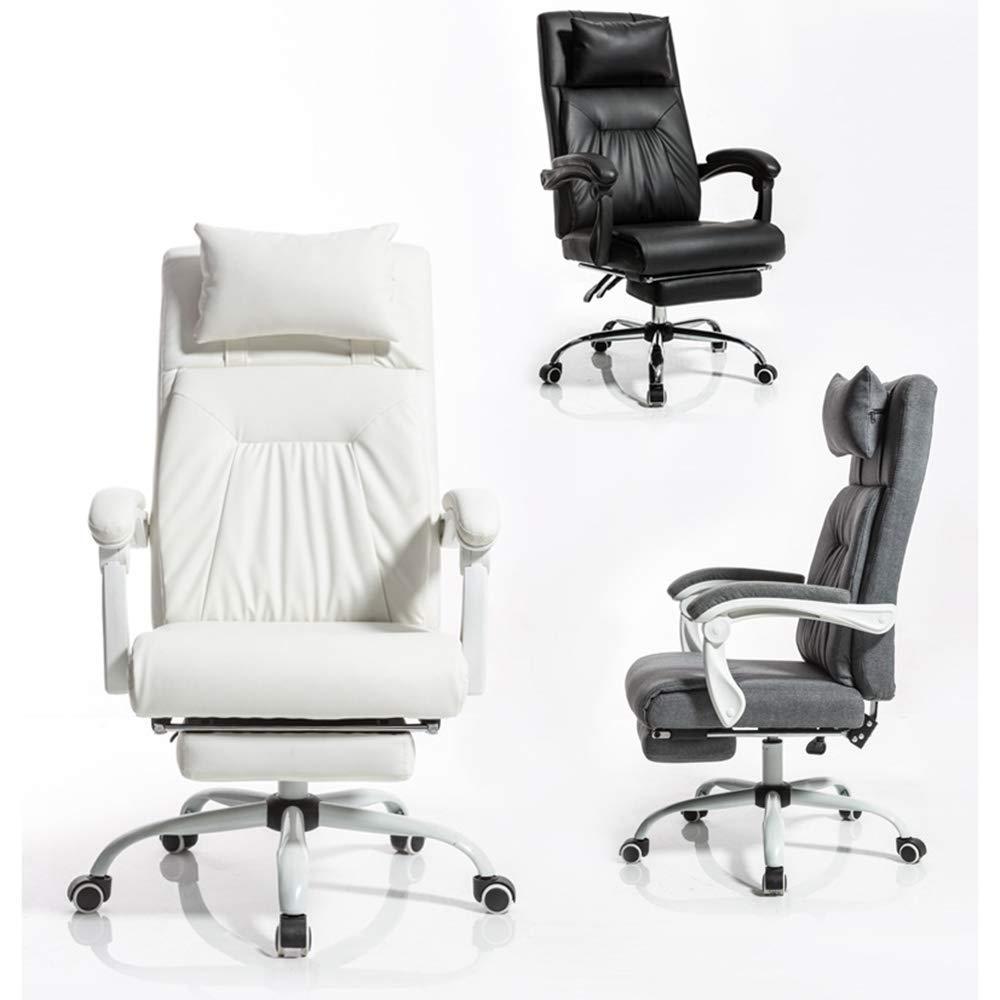 Barstolar Xiuyun dator stol nackstöd komfort kudde hushåll chef stol stor vinkel justerbar kontor skrivbord nivå säkerhet lufttryck stång rem typ (färg: vit) Svart