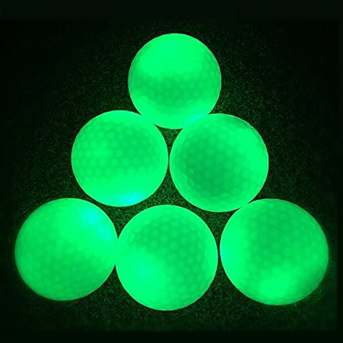Night Glow Golf Balls - Long Lasting Fluorescent Golf Balls, Ultra Bright Glow in the Dark Golf Ball Rechargeable by Sunlight or Flashlight (6 Count) -
