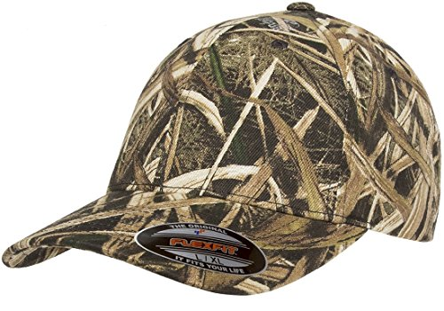 Flexfit Fitted Low Profile Mossy Oak Camo Cotton Hat with Curved Visor - S/M (Shadow Grass)