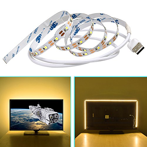 OGXLED LED TV Backlight 5V USB SMD 2835 LED Strip for Flat Screen HDTV LCD Monitor Desktop PC Bias Lighting (5M/16.4FT, Warm White) (Tv Lcd Bookcase)