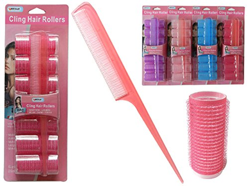 HAIR ROLLER CLING 7PC+COMB 8'', Case of 96