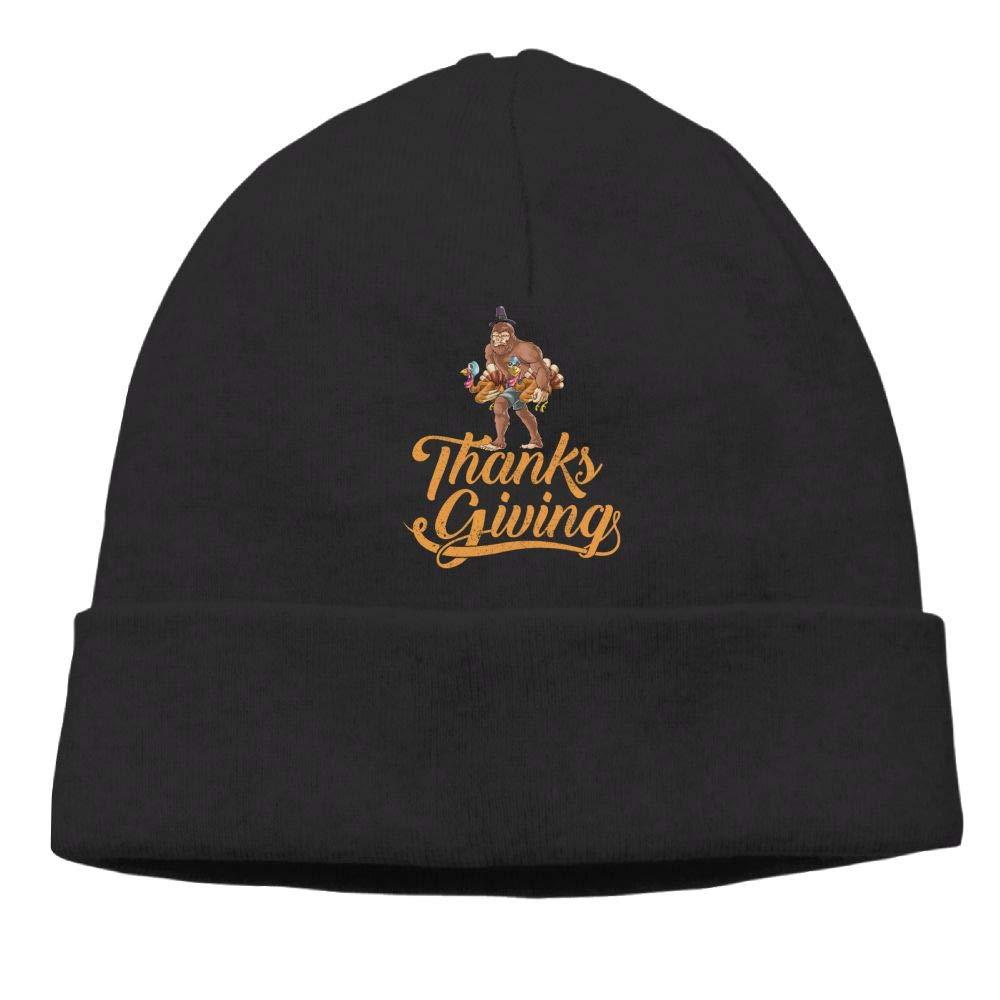 Oopp Jfhg Thanksgiving Turkey Bigfoot Beanies Knit Hats Skull Cap Mens Black
