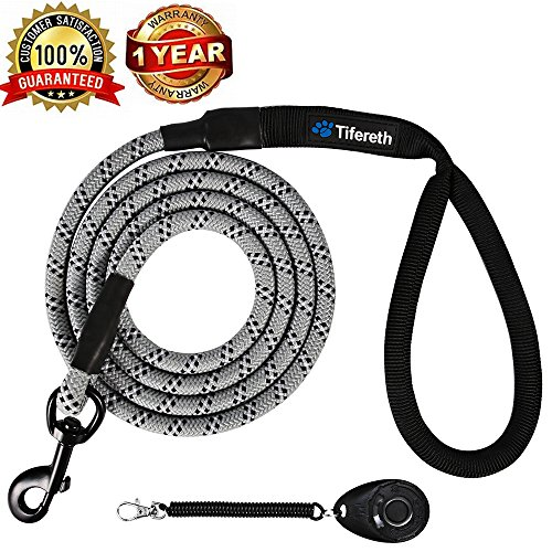 Tifereth Dog Leashes for Medium and Large Dogs Mountain Climbing Rope Dog Leash 6 ft Long Supports The Strongest Pulling Large and Medium Sized Dogs(Free Dog Training Clicker) (6 Feet, Grey)