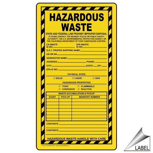 ComplianceSigns Vinyl Label, 11 x 6 in. with Hazardous Material Info, 25-Pack Yellow (Hazardous Tags Material)
