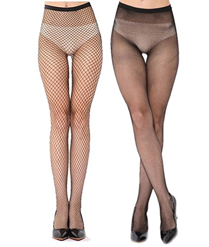Senchanting Women Hot Chic Vintage Black Big Cross Fishnet Tights Seamless Nylon Large Mesh Stockings Pantyhose(Medium+Small Plaid)