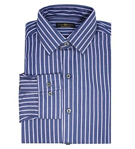 Club Room Men's Stripe Regular Fit Cotton Dress Shirt; Blue, Lavender & White (14.5 X 32-33) Club Room White Dress Shirt
