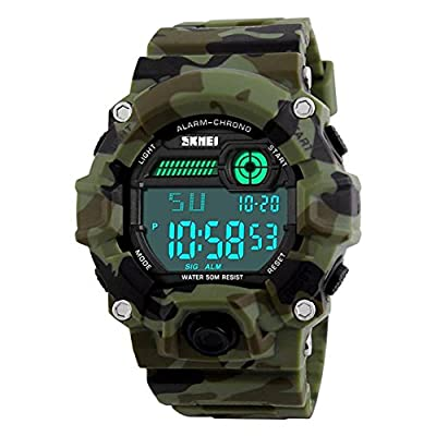 Men's Digital Sports LED Waterproof Electronic Casual Military Wrist Camouflage Strap Watch With Silicone Band Luminous Army Watches
