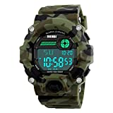 Men's Digital LED Sport Watch,Waterproof Electronic Casual Military Wrist Camouflage Strap Boys Sports Watch With Silicone Band Luminous Alarm Stopwatch Watches