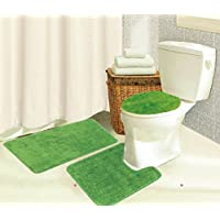Kashi The Brandy Collection 3-Piece Area Rug Set: Area Rug with Matching Runner and Mat- Lime