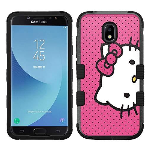 Hello Kitty Hard Case - for Samsung Galaxy J7 (2018), J7 Refine, J7 Star, J7V 2nd Gen. SM-J737 Hard+Rubber Hybrid Case - Hello Kitty Pink Dots #A