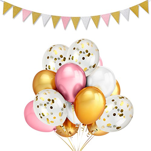 LeeSky 12Pcs 12 Inches Gold Confetti Balloons,50 Pack Gold & Pink & White Party Balloons and Vintage Style Pennant Banner,Graduation Bachelorette Wedding Birthday Party Decoration Supplies