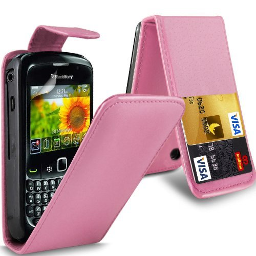 N4U Online Online Superior Credit Card Slot Baby Pink Pu Leather Flip Case Cover Pouch For Blackberry 8520 Curve & Screen Protector ()