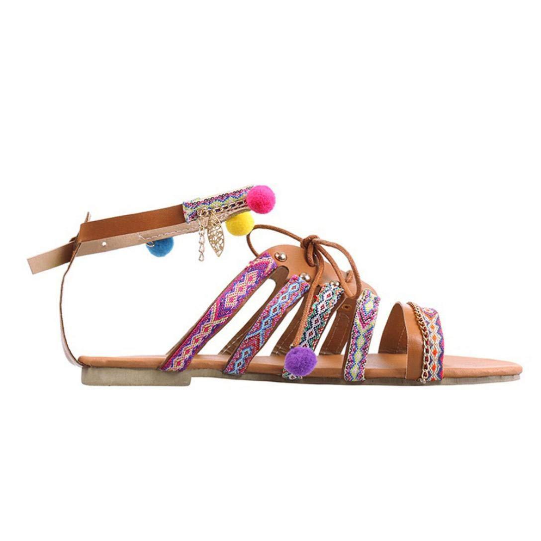 Sandalias de Vestir, Malloom Sandalias Mujer Planas Bohemia Pompones Flat Zapato Punta Abierta Sandals Verano Playa (37, Bohemia)