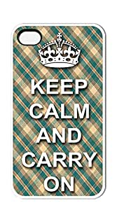 NBcase KEEP CALM AND CARRY ON hard PC iphone 4 case for teen girls clear case