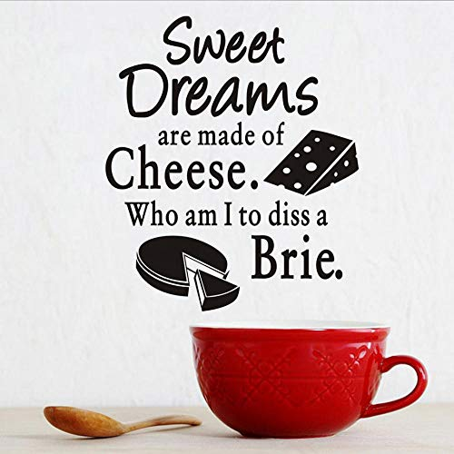 Wall Stickers Murals Wall Sticker Sweet Dreams Cheese Brie Cake Pattern Vinyl Decal Home Decor Kitchen Wall Tile Stickers 43X50Cm