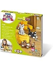 STAEDTLER 8043 LYST Form&Play Fimo Kids, Pâte À Modeler Ultra-Douce, Set Cat, Durcissant Au Four, Instructions Faciles À Suivre, Boîte Refermable, 8034 16 LY, Multicolore, taille unique