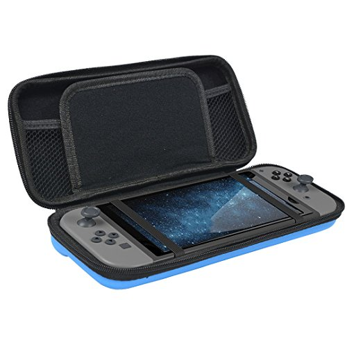 Newkiton Carry Case for Nintendo Switch with 8 Game Cartridge Holders and Inner Pockets Protective Hard Shell Travel Carrying Pouch Compatible with Nintendo Switch Console & Accessories (Blue)