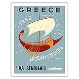 Greece - Aegean Cruises - by M/V Semiramis - Greek islands, including Skiathos, Delos, Skyros, Milos and Mykonos - Vintage Ocean Liner Travel Poster by Ilissos N. c.1956 - Fine Art Print - 20in x 26in