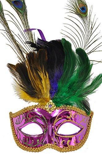 Pure Seasons Mardi Gras Festival Mask (Purple)-Standard (Carnavale Costumes)