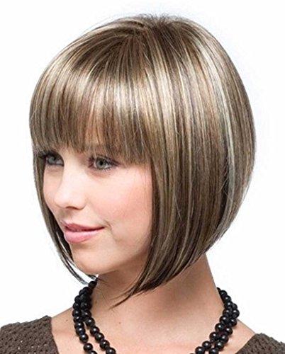 Tsnomore Shoulder Length Straight Bob Heat Resistant Women Wig (Mixed -