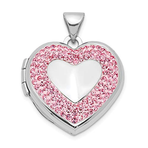 925 Sterling Silver 18mm Heart Preciosa Crystal Photo Pendant Charm Locket Chain Necklace That Holds Pictures Fine Jewelry For Women Gift Set -