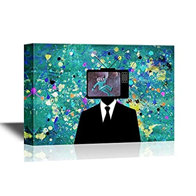 Canvas Wall Art - Man with a Tvset on Head - Gallery Wrap Modern Home Art | Ready to Hang - 32x48 inches