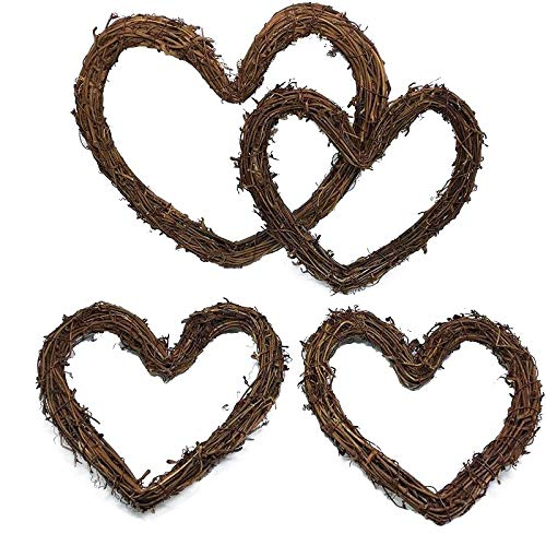 Grapevine Heart Wreath - Yalulu 4pc 4-10 Inch Christmas Rattan DIY Craft Projects Natural Twig Grapevine Heart Shaped Garland Hanging Wreaths Rattan Festive Shop Window Door Decor