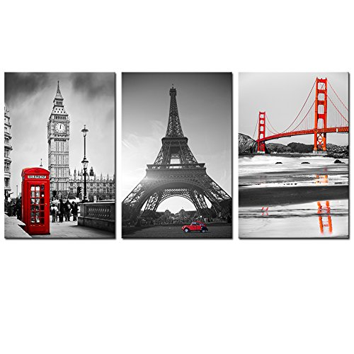 Live Art Decor - Large Size Canvas Print,Red and Black Golden Gate Bridge,Eiffel Tower and Big Ben Picture Wall Art Ready to Hang,3 Pieces Canvas Art Modern Office Home Decor by Live Art Decor
