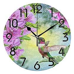 Dozili 3D Beautiful Hummingbird Flowers Print Round Wall Clock Arabic Numerals Design Non Ticking Wall Clock Large for Bedrooms,Living Room,Bathroom