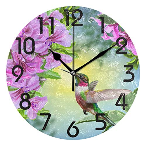 Dozili 3D Beautiful Hummingbird Flowers Print Round Wall Clock Arabic Numerals Design Non Ticking Wall Clock Large for Bedrooms,Living Room,Bathroom