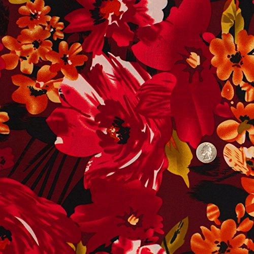 Jersey Knit Print Fabric - Wild Flowers stretch Jersey Knit Red Black FDY Print Fabric