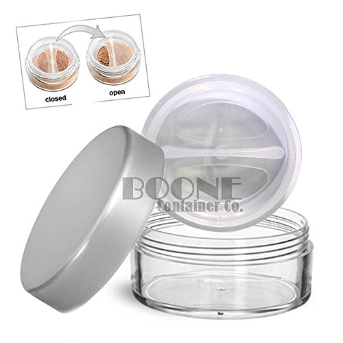 (2-Pack 10ml / 10g Clear Powder Sifter Empty Refillable Cosmetic Makeup Jar w/Twist Rotating Closable Sifter & Silver Lids)