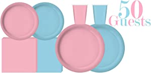"Serves 50 | Complete Party Pack | Light Blue and Light Pink | 9"" Dinner Paper Plates 
