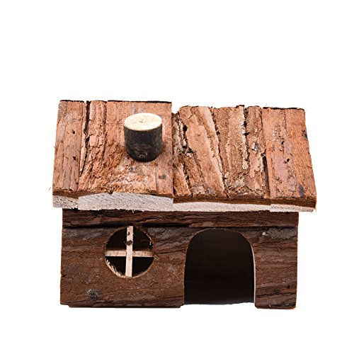 Bestmemories Natural Wooden House Animals Pet Hideout Wood Hut Exquisite Hamster Mouse Play House with Chimney for Hamster Rats Pets (M)
