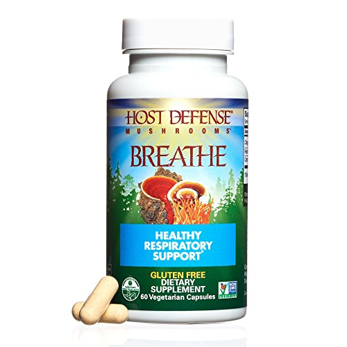 Host Defense – Breathe Multi Mushroom Capsules, Support for Energy, Easy Respiration, and Immunity in The Lungs, Non-GMO, Vegan, Organic, 60 Count